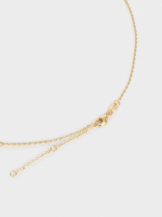 925 Silver Leaf Necklace, Golden, hi-res