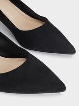 Suede Texture Kitten Heel Shoes, Black, hi-res