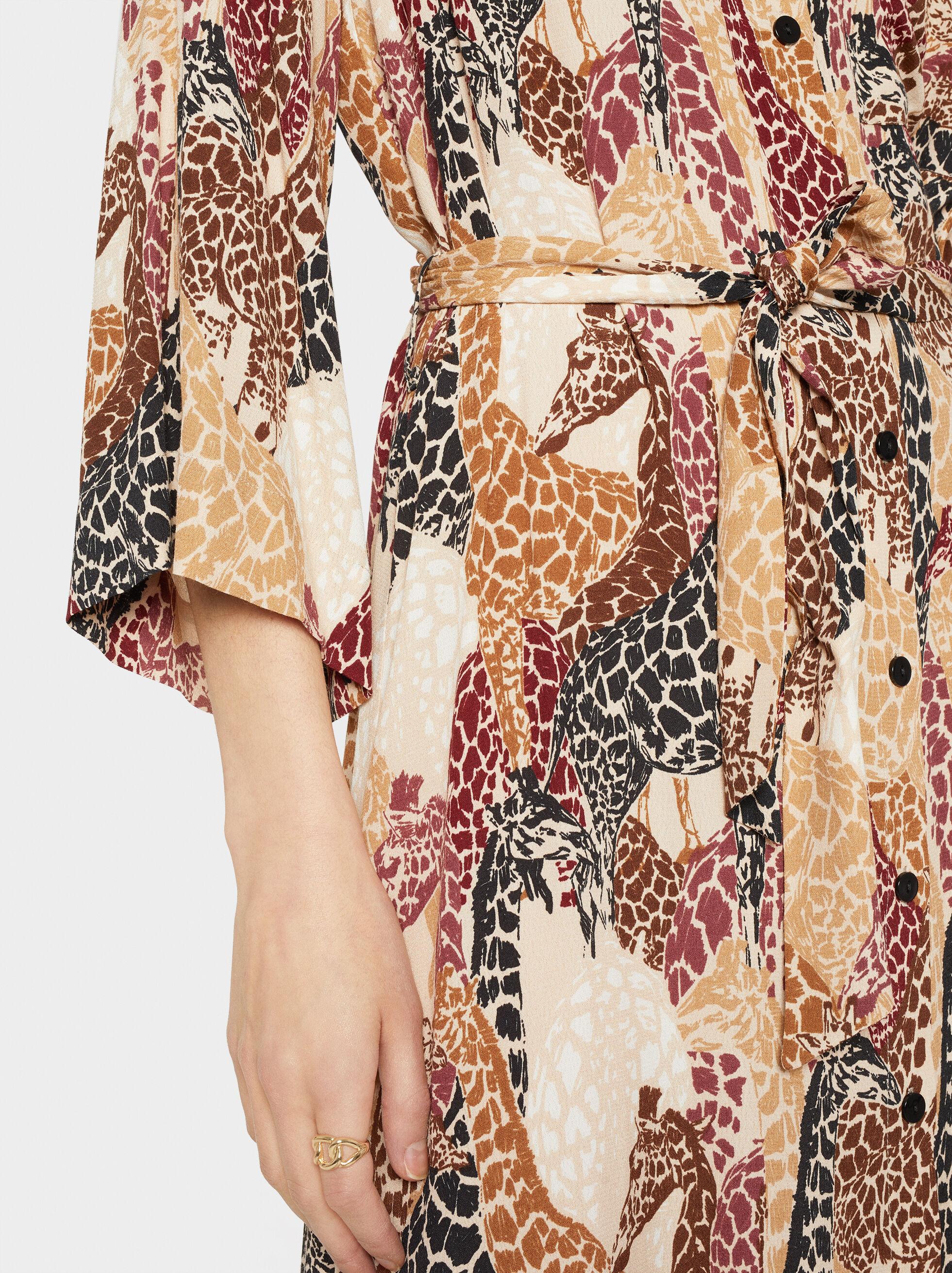 Printed Shirt Dress With Belt, Beige, hi-res