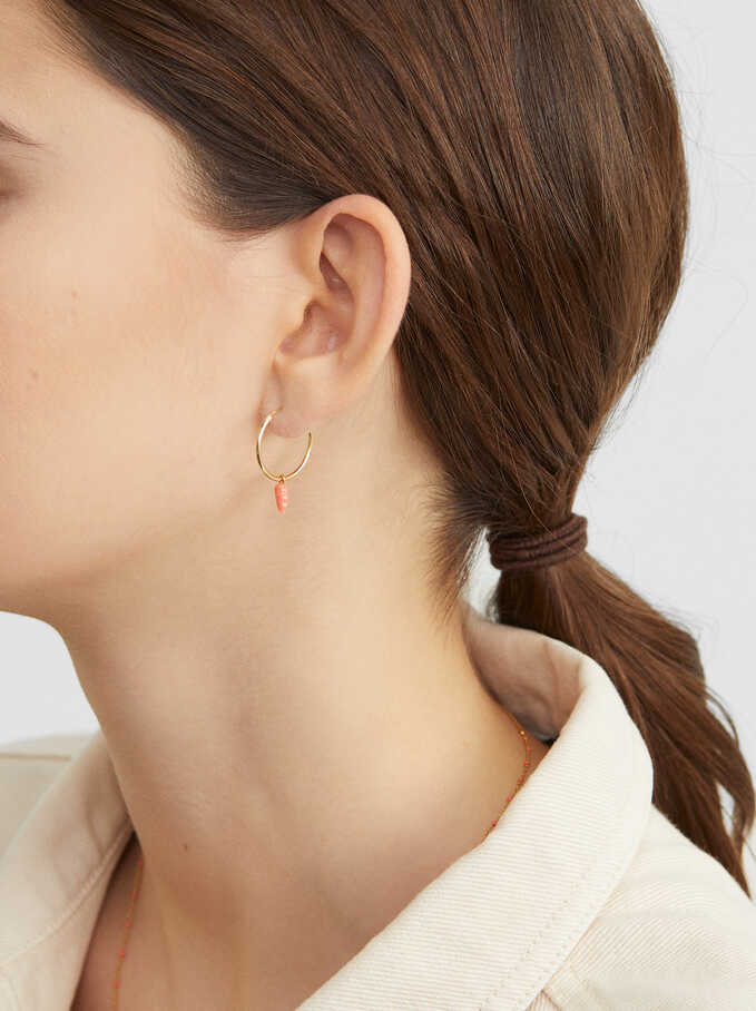 Multicoloured Small Hoop Earrings With Stone Details In 925 Sterling Silver, Coral, hi-res