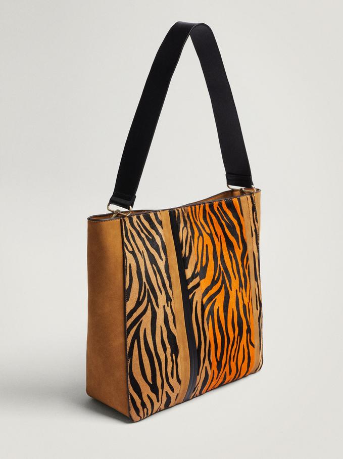 Animal Print Leather Shoulder Bag, Orange, hi-res