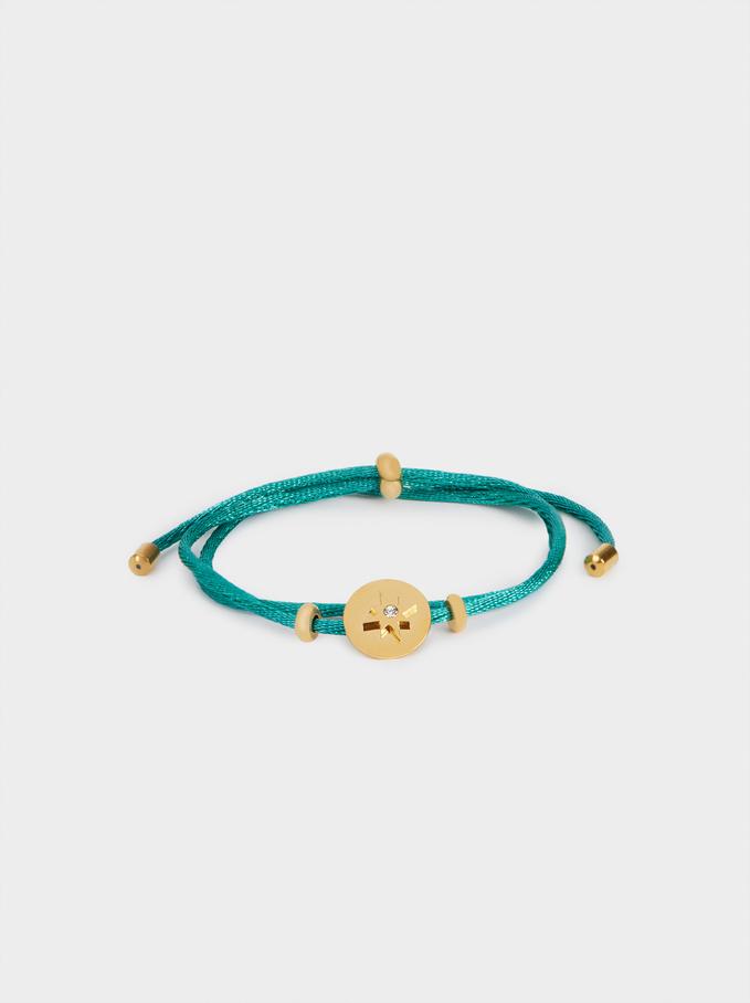 Adjustable Steel Bracelet With Star, Green, hi-res