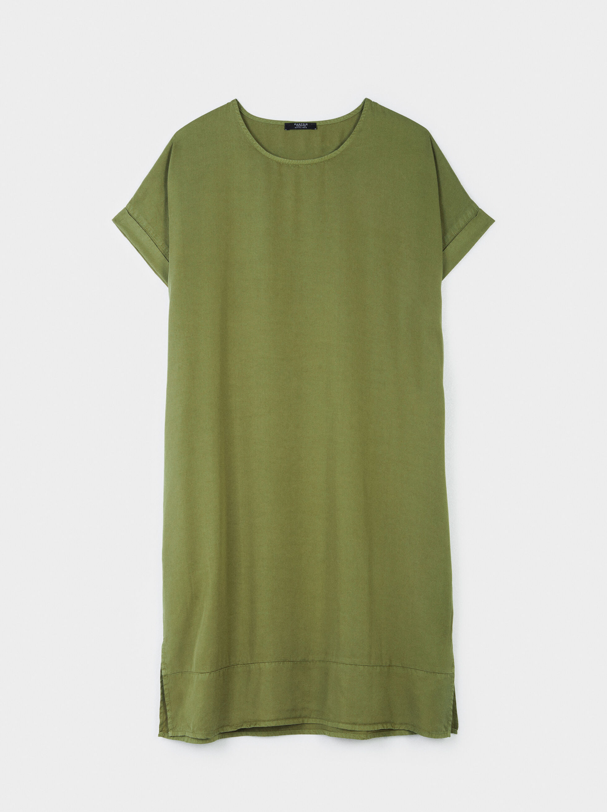 Online Exclusive Round-Neck Dress, Khaki, hi-res