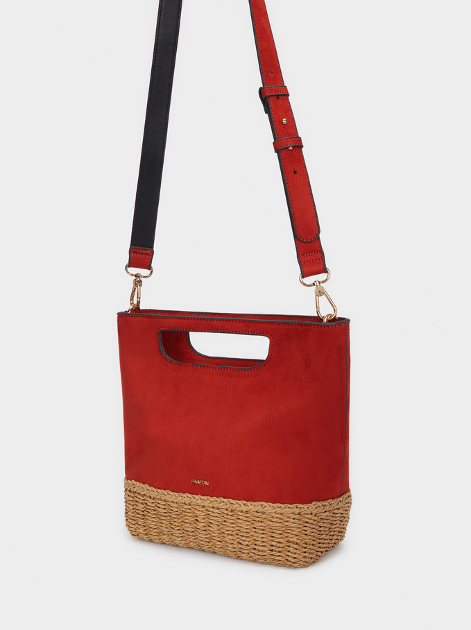 Bucket Bag With A Textured Raffia Base, Brick Red, hi-res