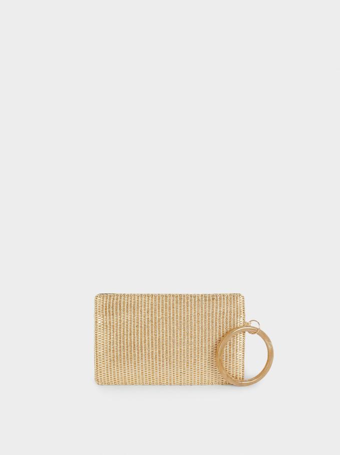 Braided Envelope Party Bag, Golden, hi-res