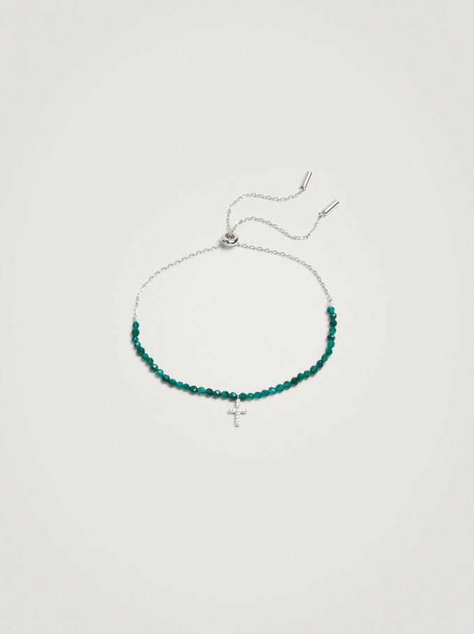 Adjustable 925 Silver Bracelet With Cross, Green, hi-res