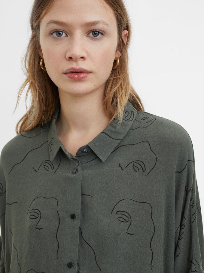 Printed Shirt, Khaki, hi-res