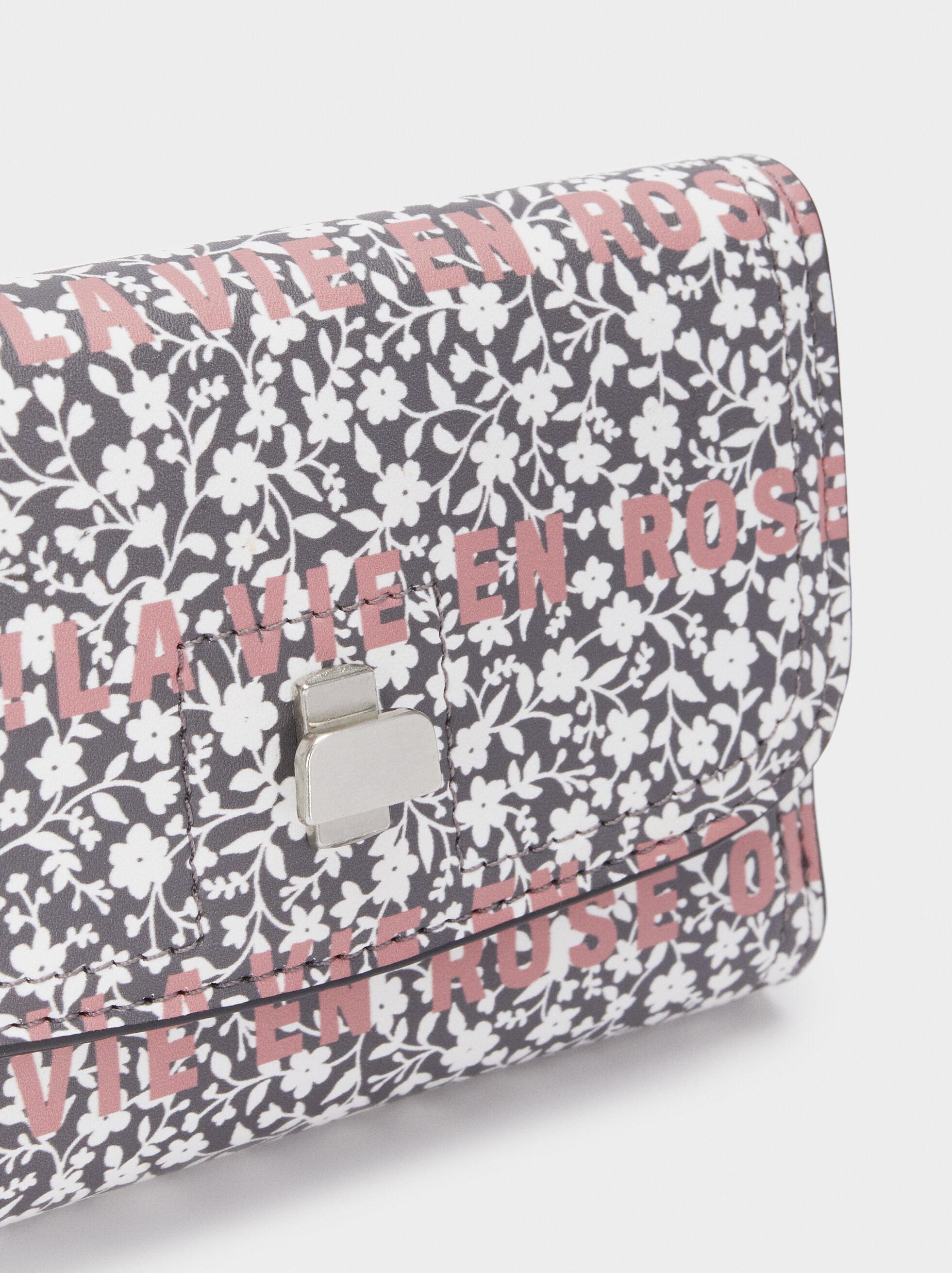 Floral Print Purse, Grey, hi-res