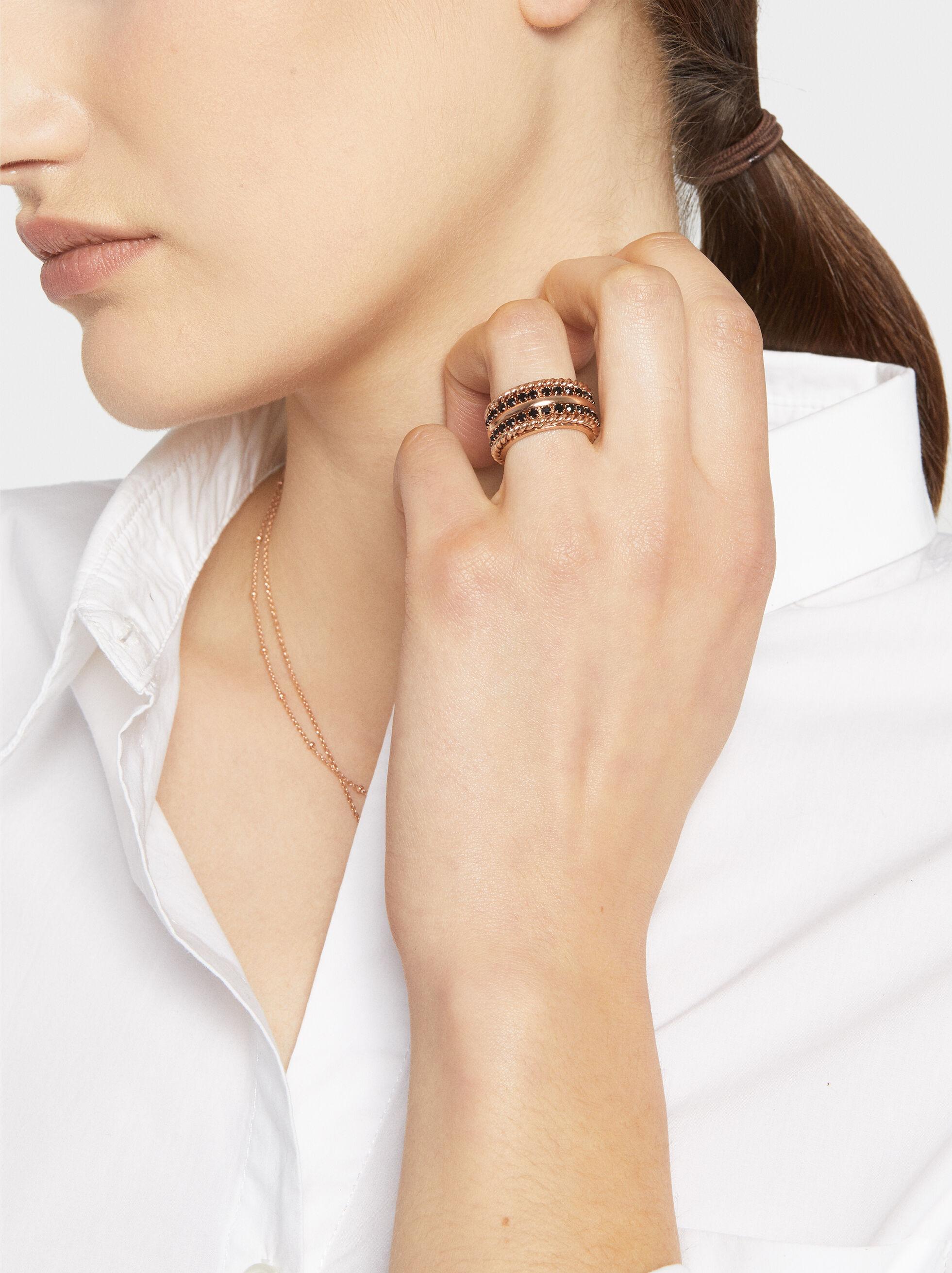 Steel Ring With Rhinestones, Multicolor, hi-res
