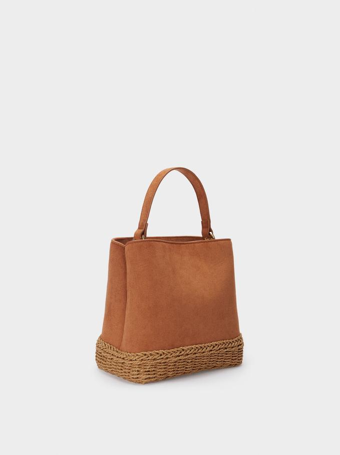 Woven Contrasting Bucket Bag, Camel, hi-res