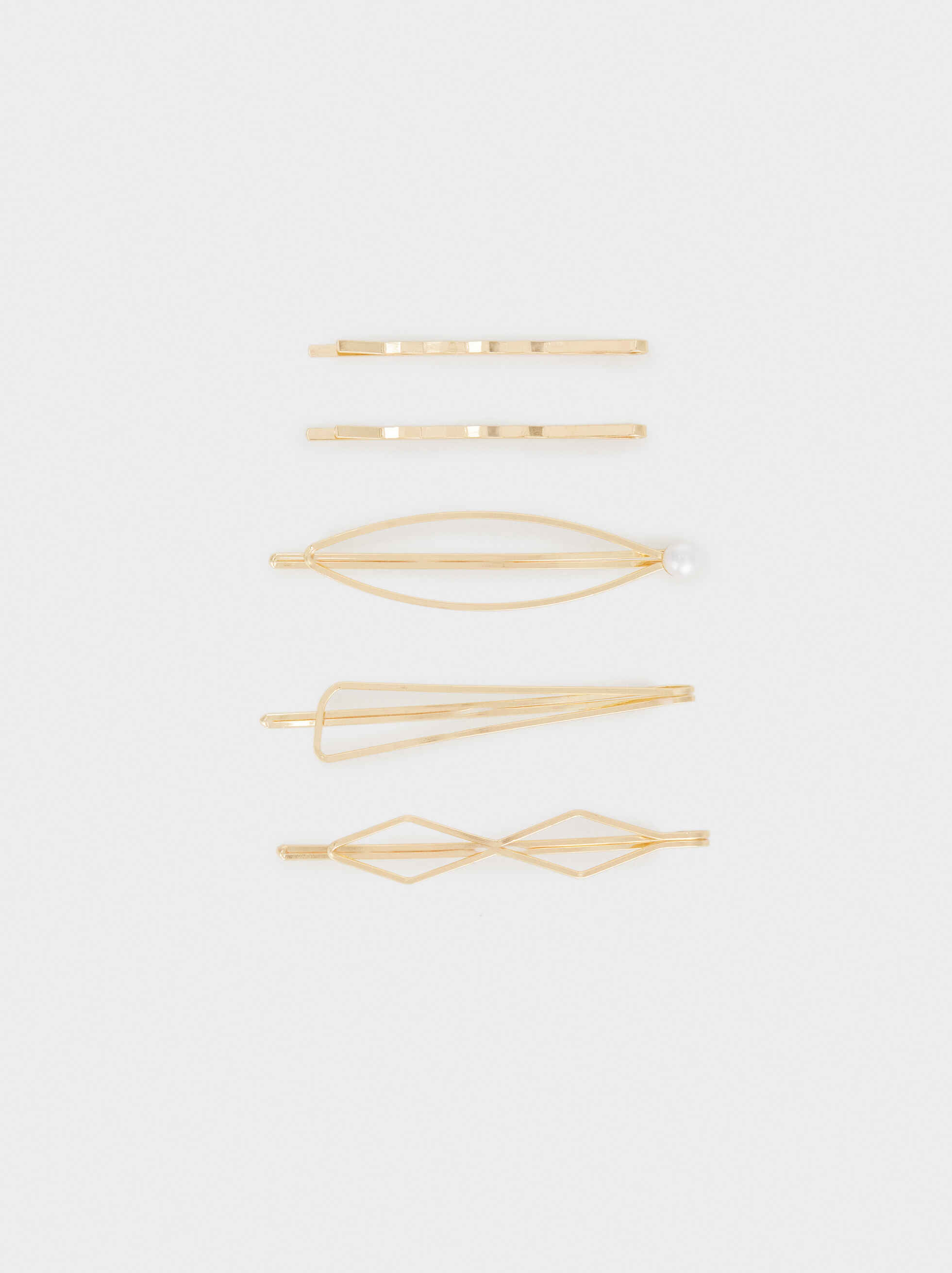 Metal Hairclip Set, Golden, hi-res