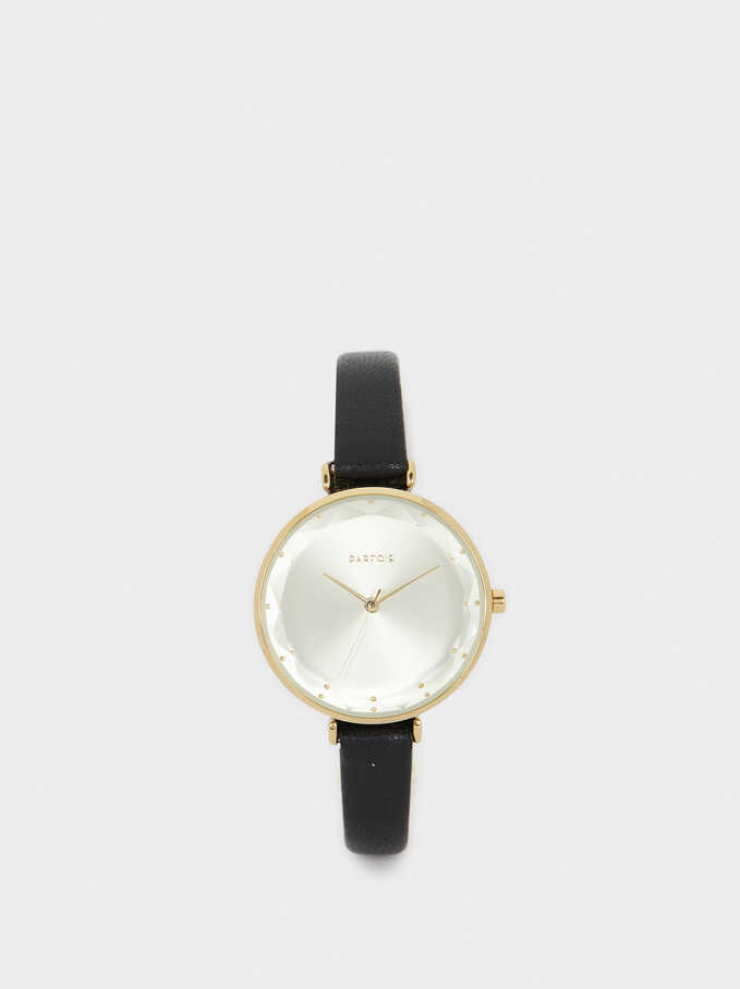Rose Gold Metallic Watch, Black, hi-res