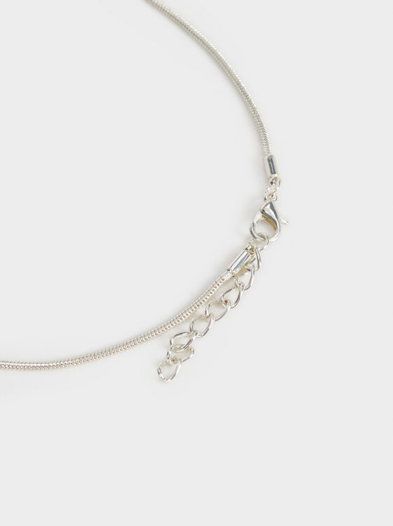 Long Necklace With Pendant, Silver, hi-res