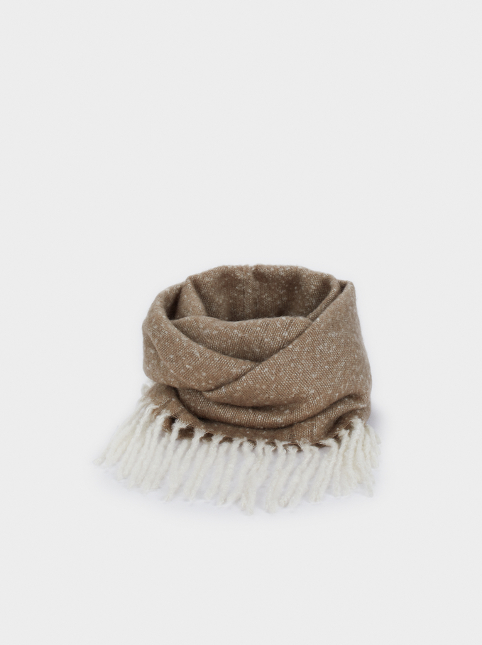 Snood With Fringe Detail, Brown, hi-res