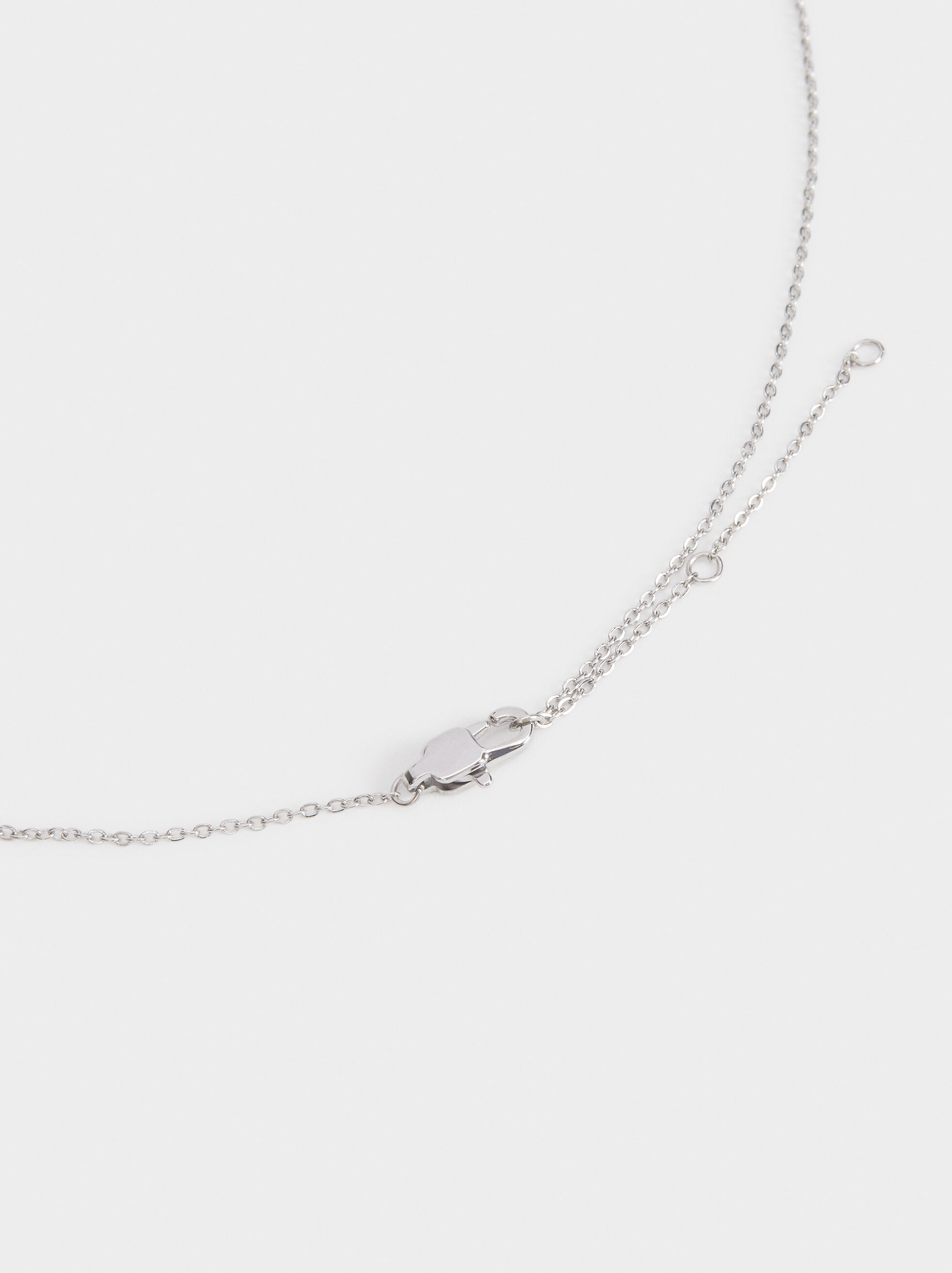 Short Steel Necklace, Silver, hi-res