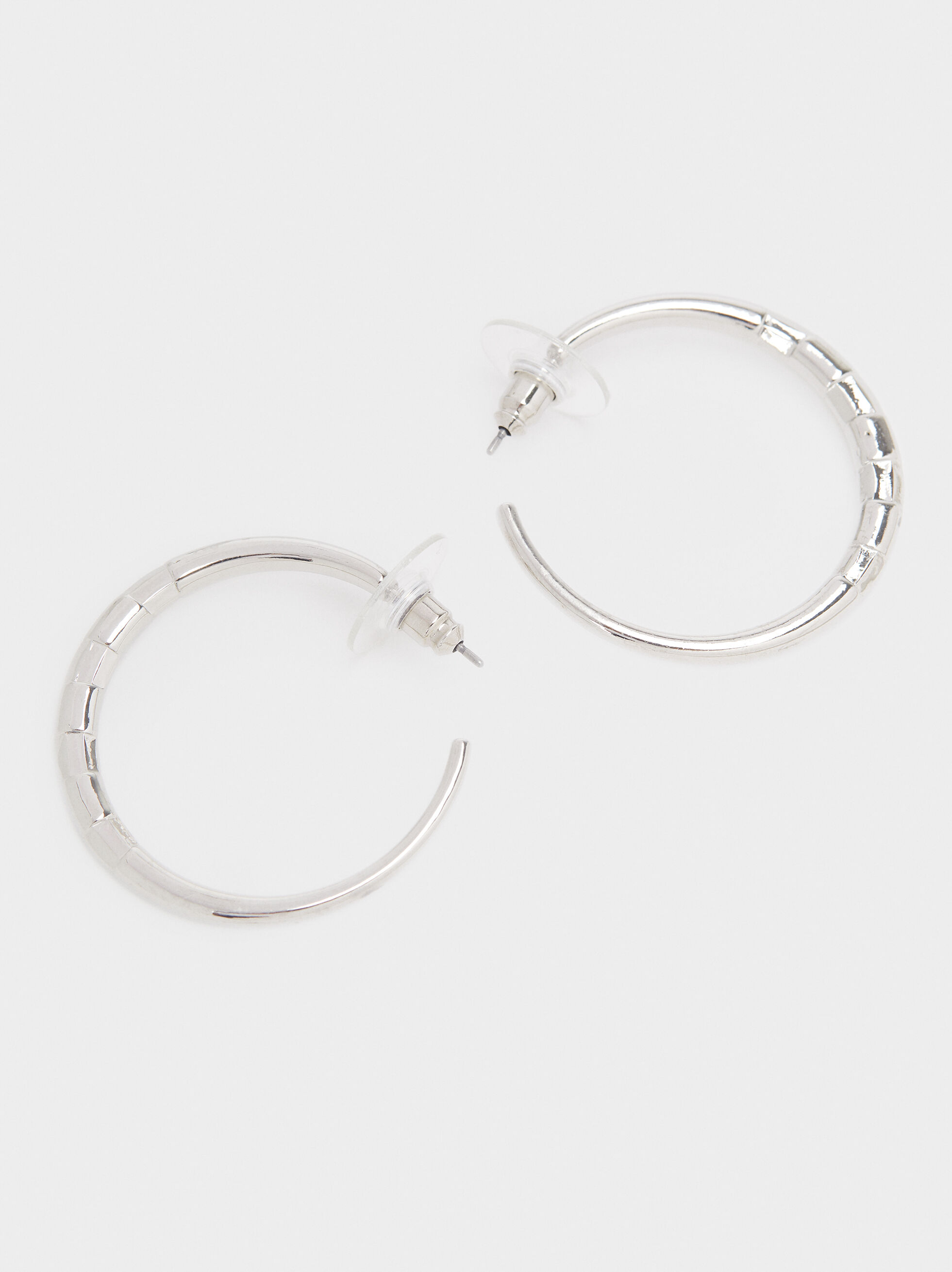 Small Silver Hoop Earrings, Silver, hi-res