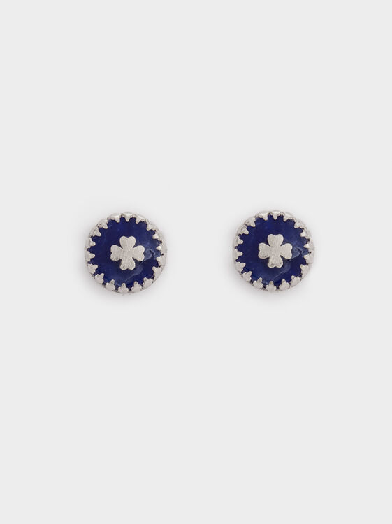 925 Sterling Silver Earrings, Blue, hi-res