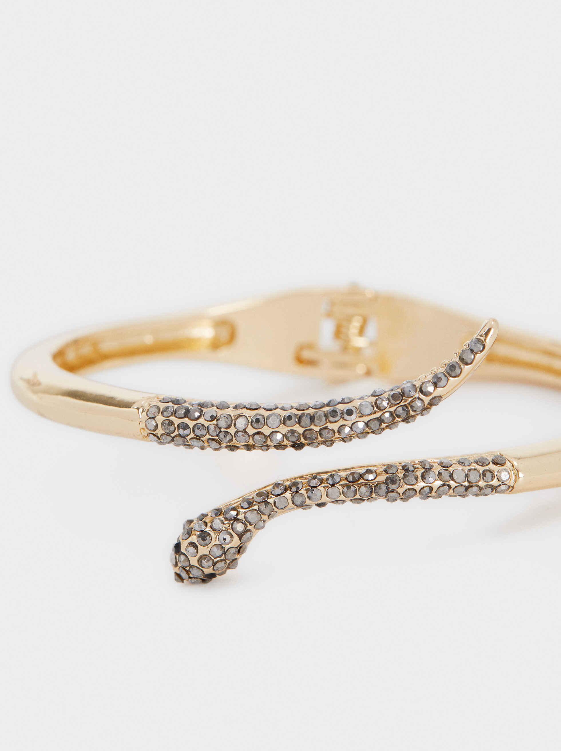 Gold Metal Rigid Bracelet, Golden, hi-res
