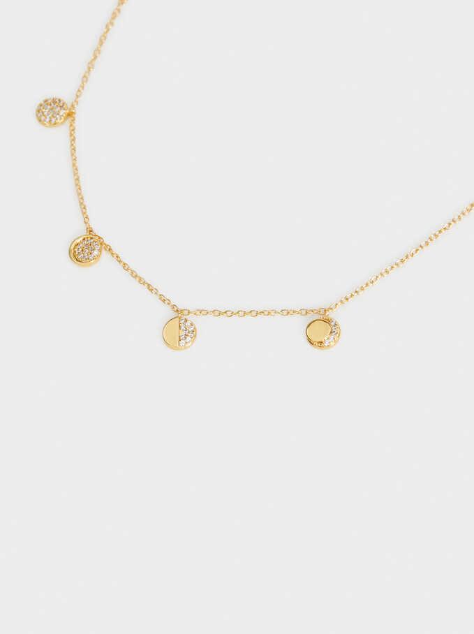 Collar Corto De Plata 925 Luna, Dorado, hi-res