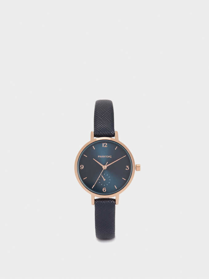 Watch With Textured Leather Wristband, Navy, hi-res