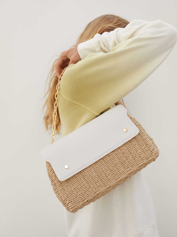 Woven Shoulder Bag With Double Strap, Ecru, hi-res