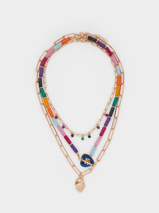Ensemble De Colliers Avec Charms Et Strass, Multicolore, hi-res