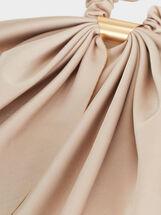 Plain Scrunchie With Metal Detail, Beige, hi-res