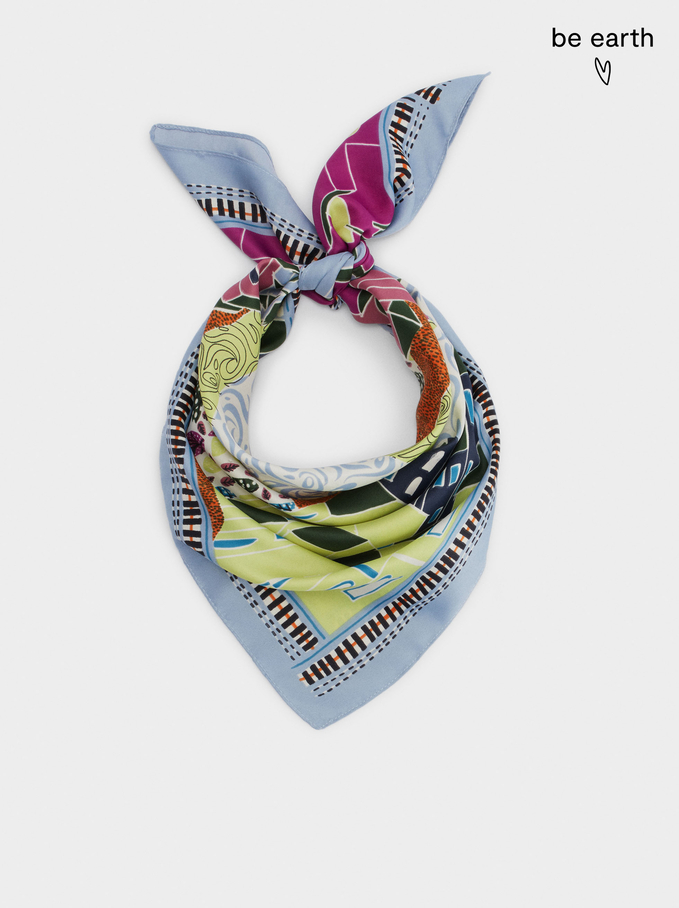 Pañuelo Cuadrado Estampado Fabricado Con Materiales Reciclados, , hi-res