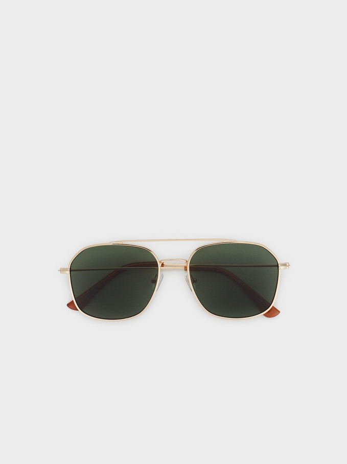 Aviator Sunglasses, Golden, hi-res