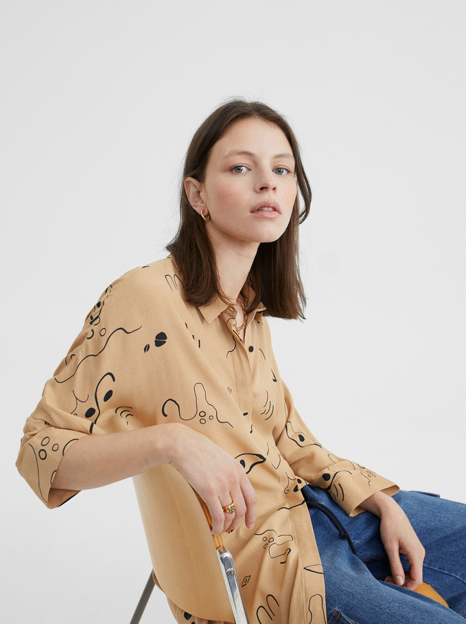 Printed Shirt Dress, Beige, hi-res