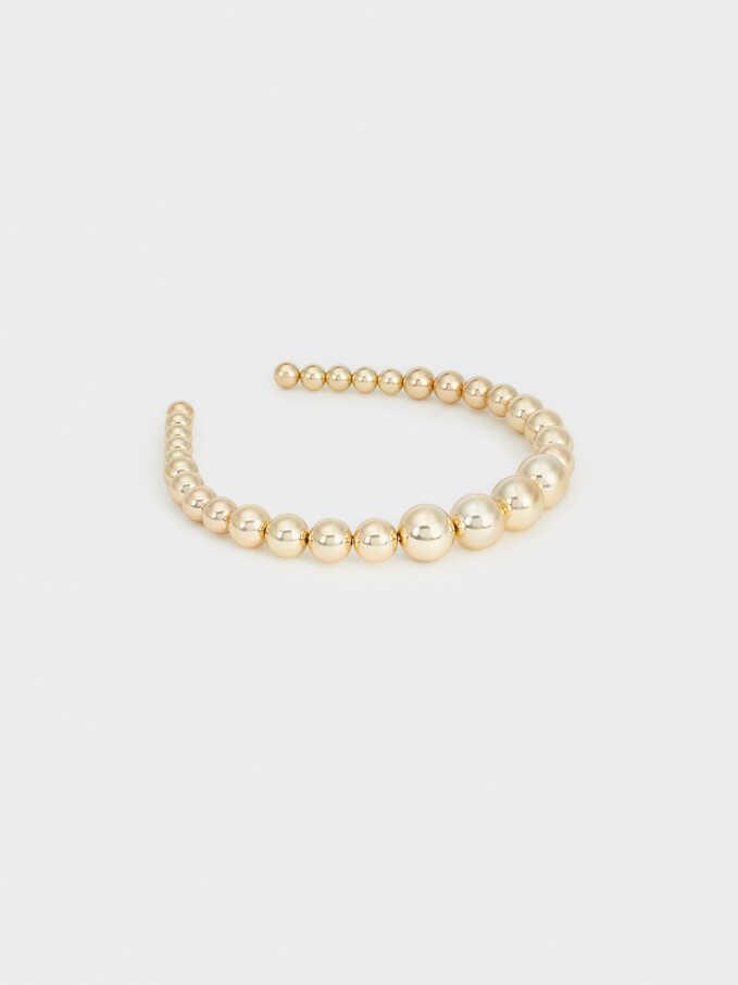 Faux Pearl Headband, Golden, hi-res