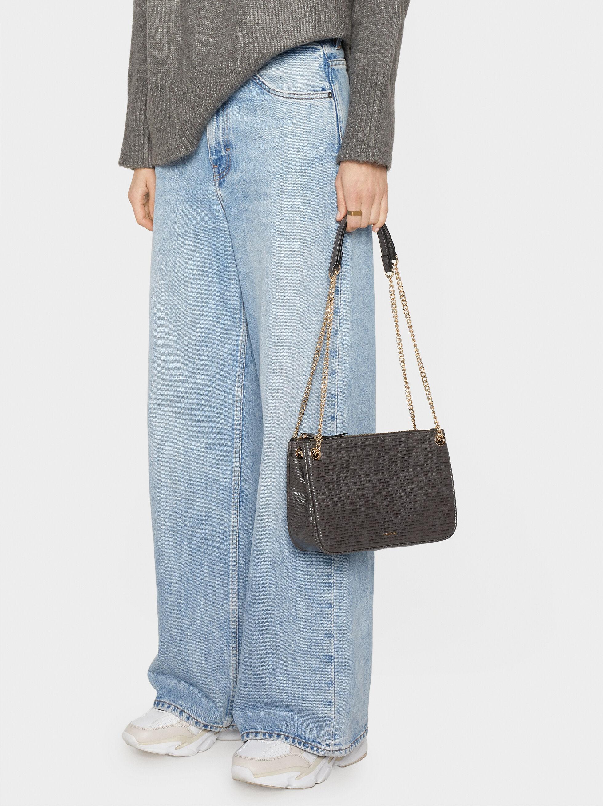 Animal Print Crossbody Bag, Grey, hi-res