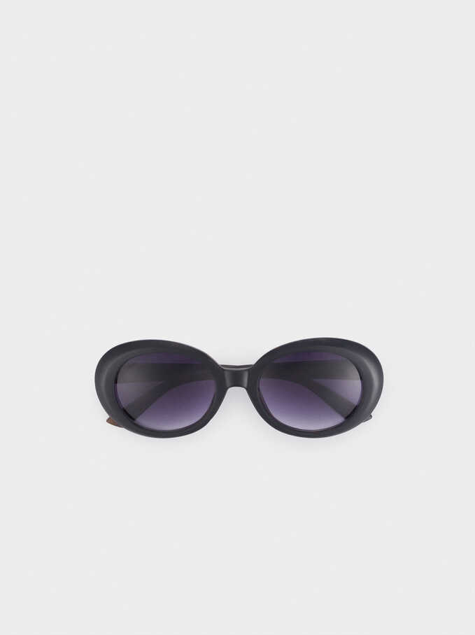 Oval Resin Sunglasses, Black, hi-res