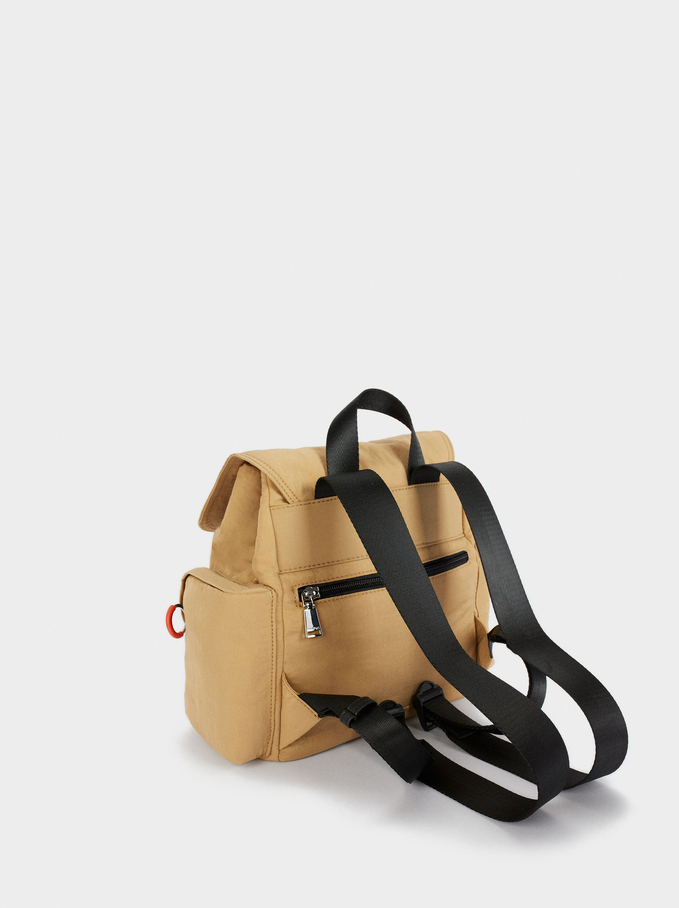 Nylon Backpack With Outside Pockets, Camel, hi-res