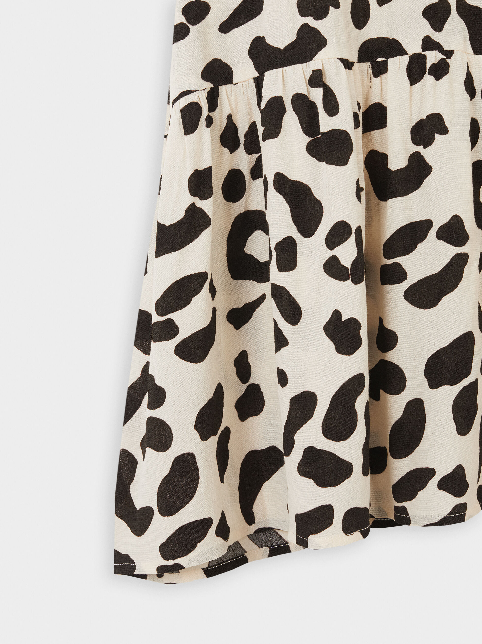 Animal Print Shirt Dress, Ecru, hi-res