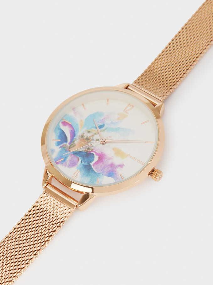 Flower Sphere Steel Bracelet Watch, Orange, hi-res