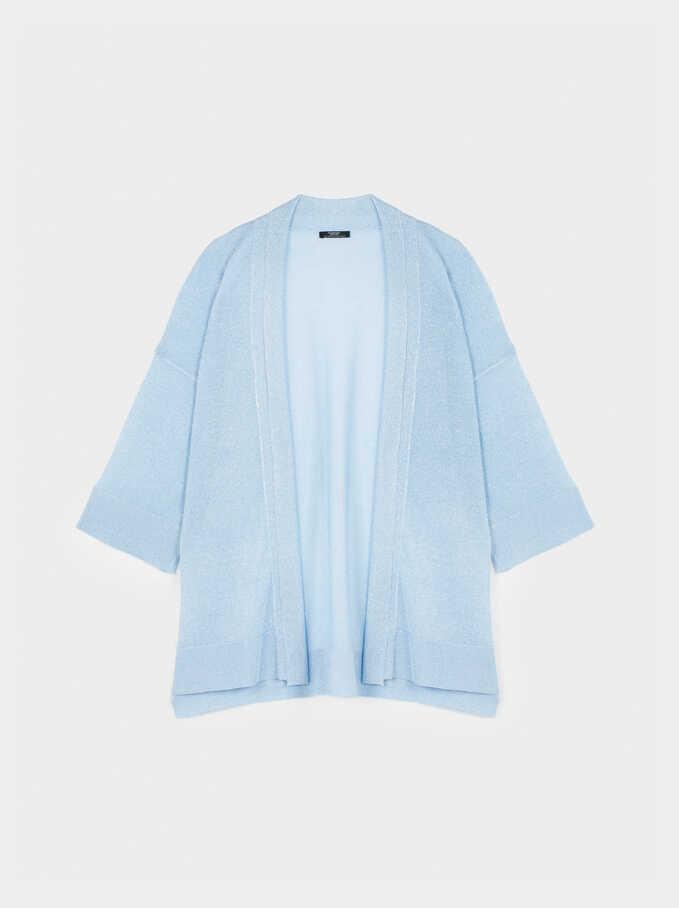 Knit Open Kimono , Blue, hi-res