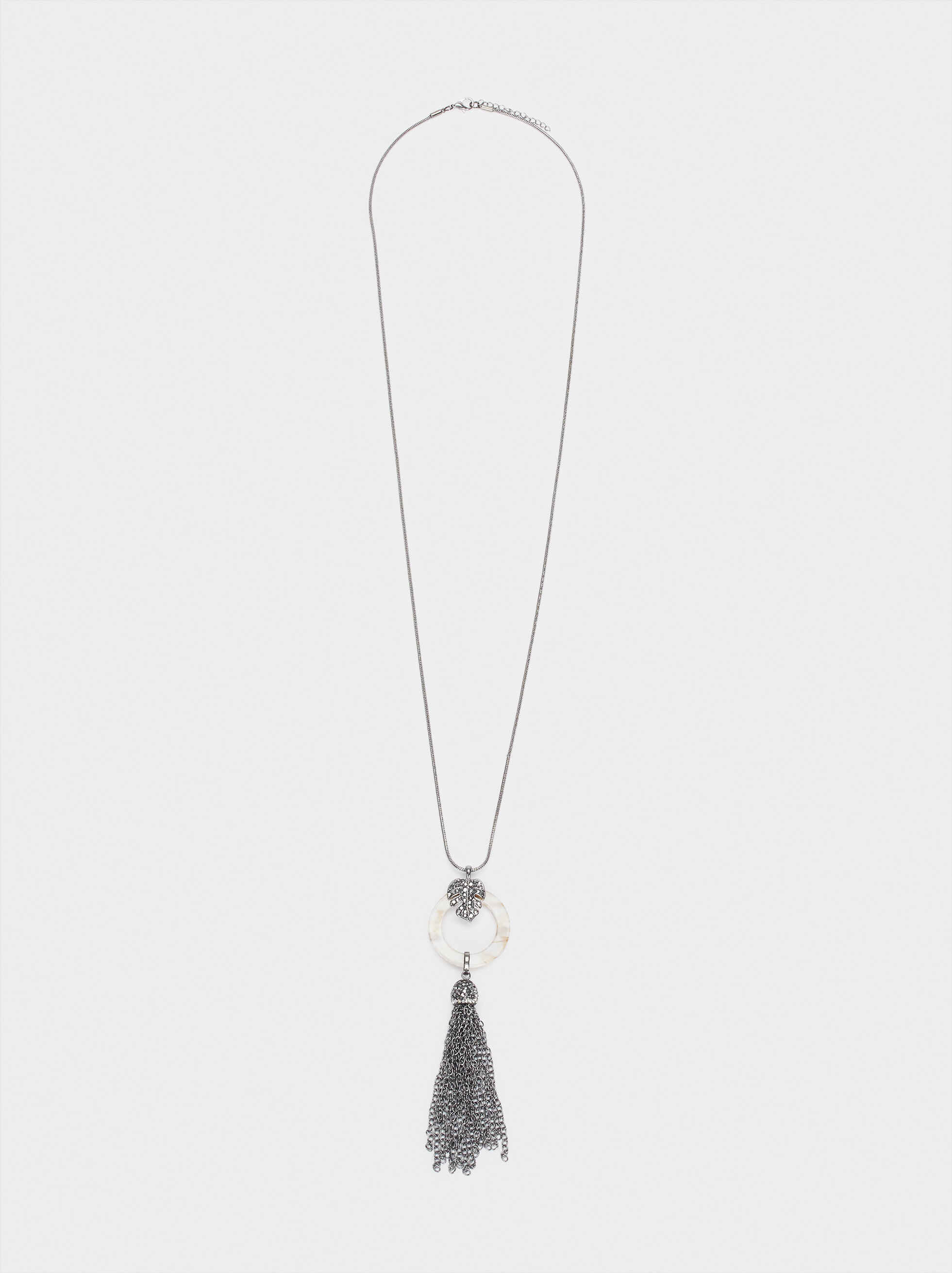 Long Necklace With Multicoloured Tassel And Crystals, Multicolor, hi-res