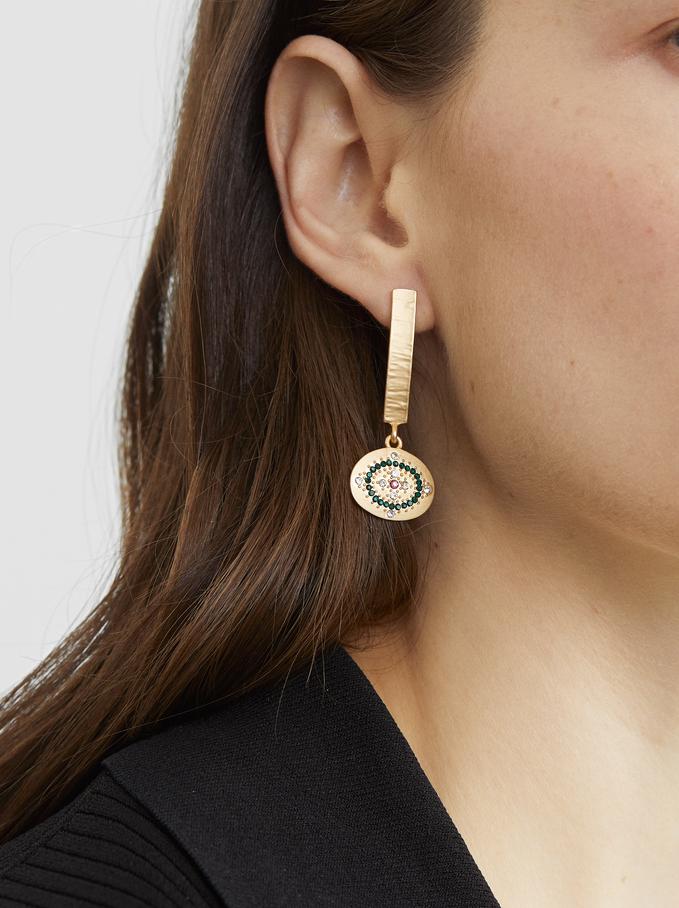 Medium Gold Earrings With Rhinestones, Multicolor, hi-res