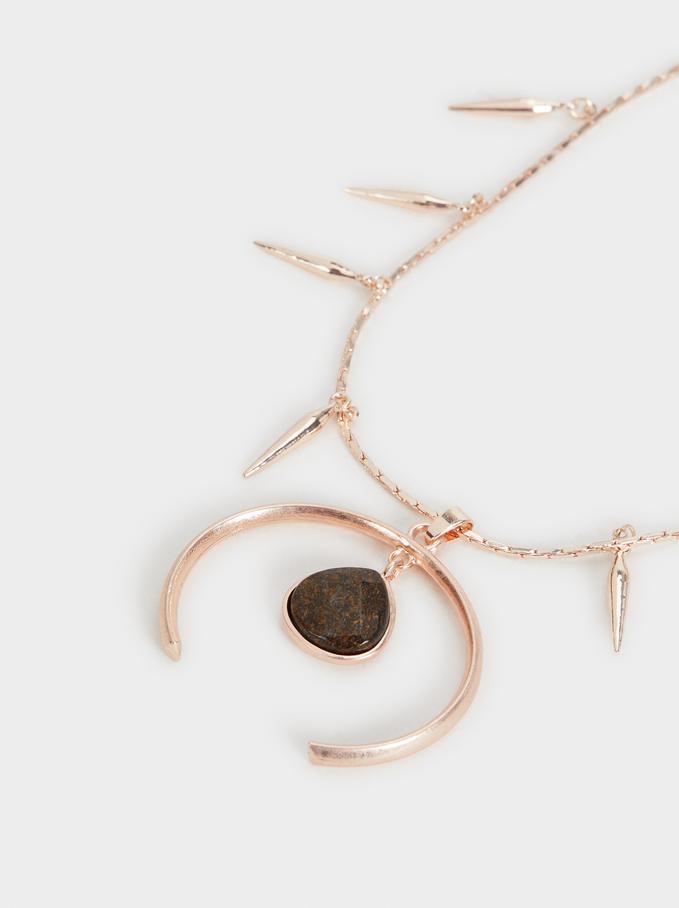 Long Cinnamon Necklace, Orange, hi-res