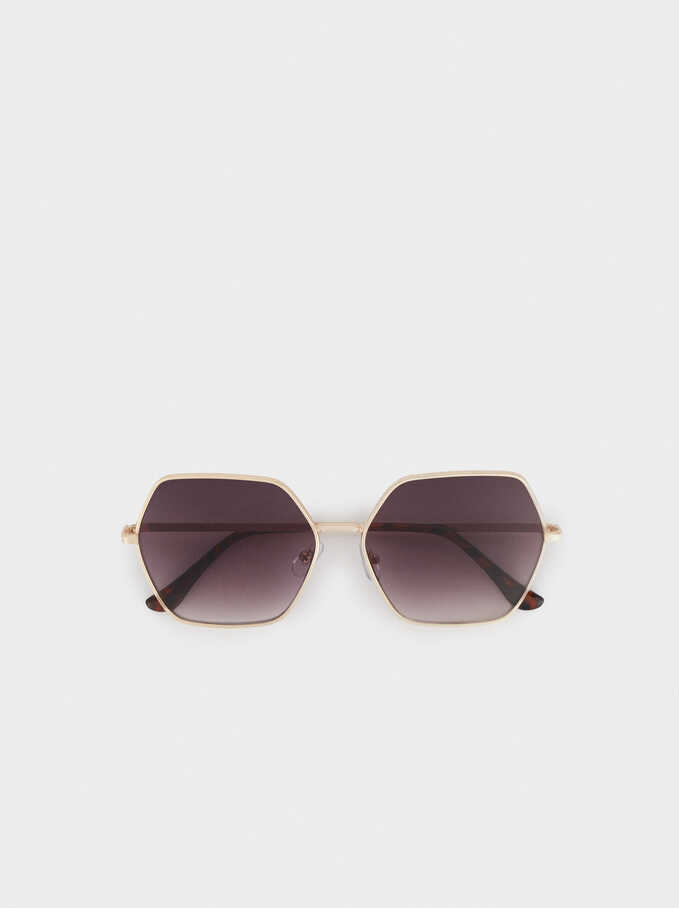Round Metallic Sunglasses, Golden, hi-res