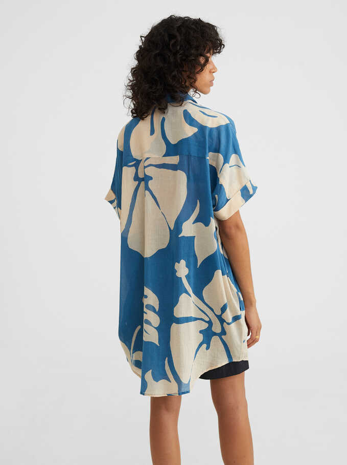 Leaf Print Dress, Blue, hi-res