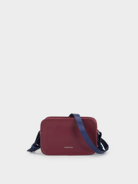 Plain Crossbody Belt Bag, Bordeaux, hi-res