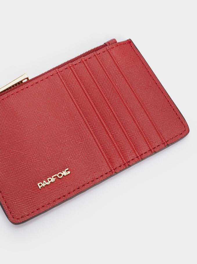 Porta Carte Con Portamonete Tinta Unita, Rosso, hi-res