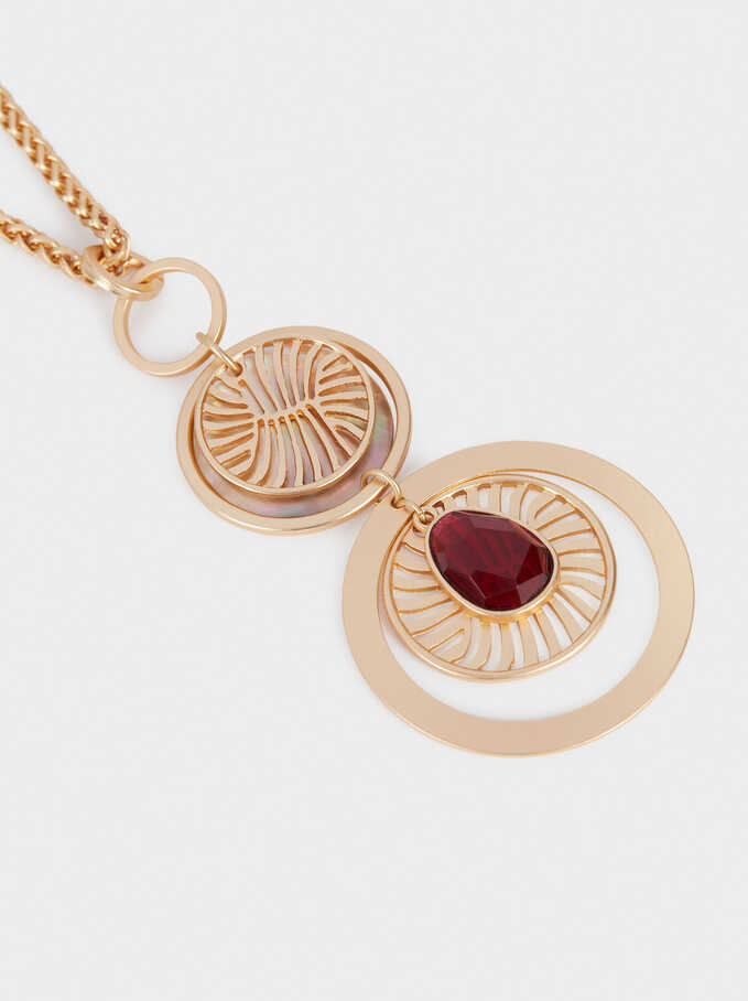 Long Necklace With Medallion Pendants, Red, hi-res