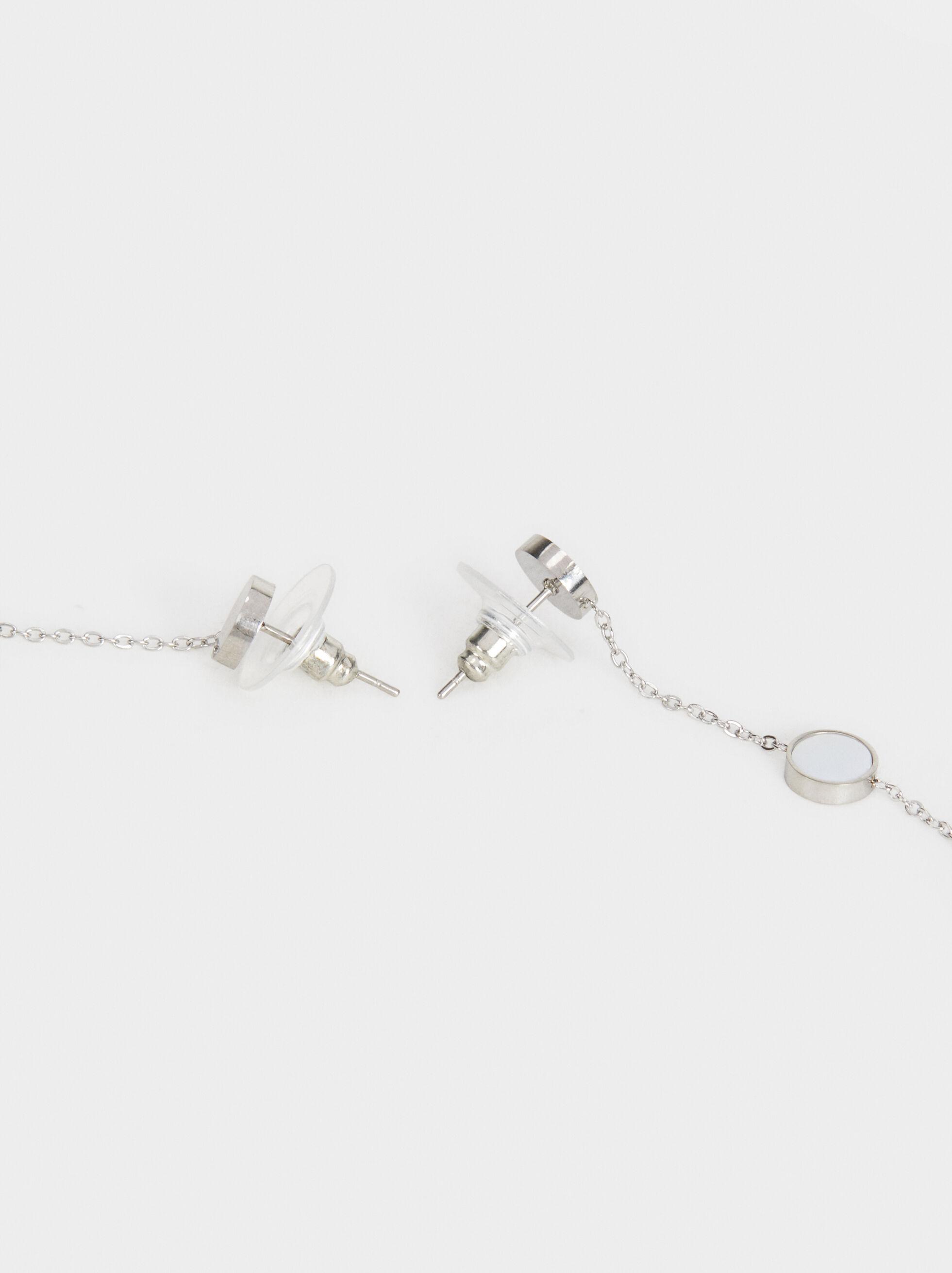 Long Steel Chain Earrings, Silver, hi-res