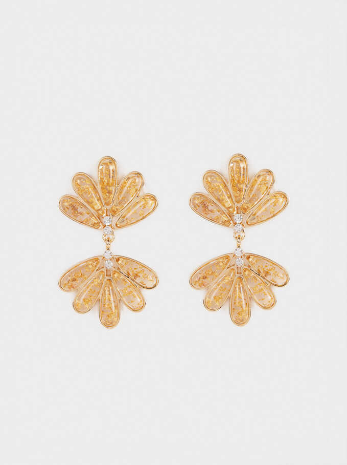 Long Earrings With Crystals, Golden, hi-res