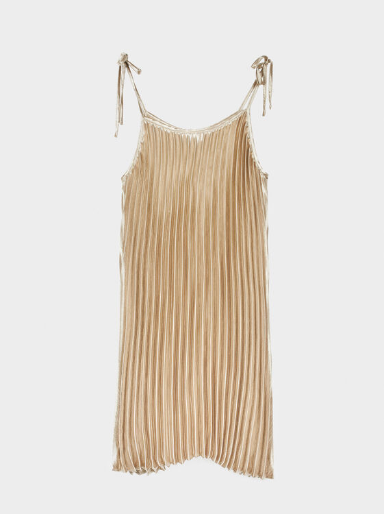 Pleated Metallic Dress, Golden, hi-res