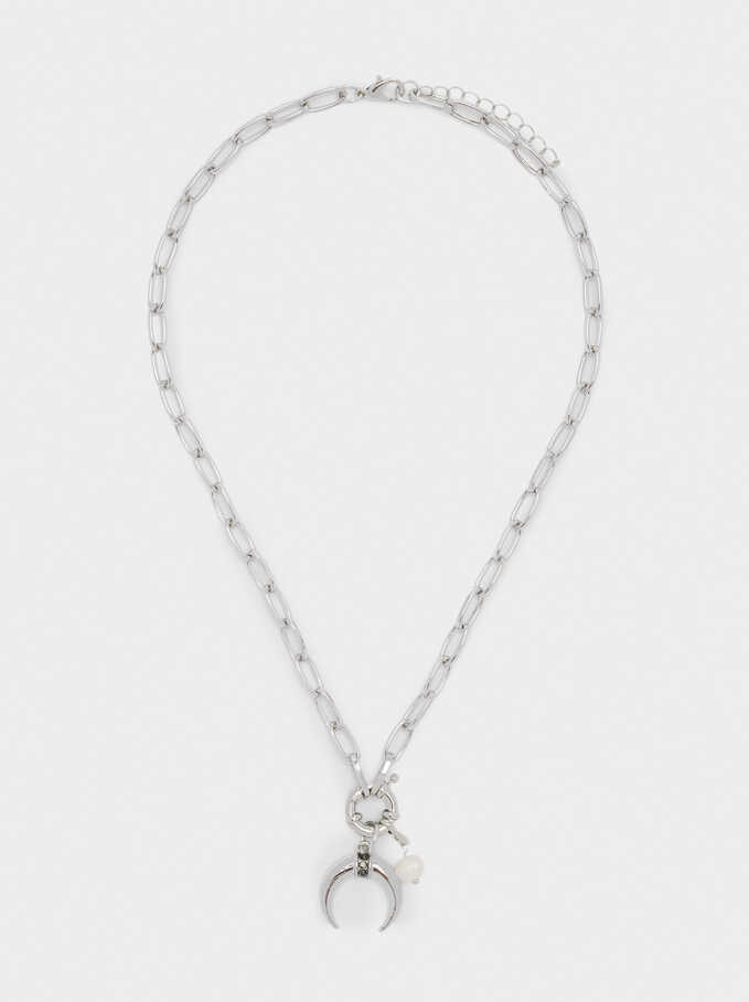 Short Necklace With Pearl And Horn, Silver, hi-res