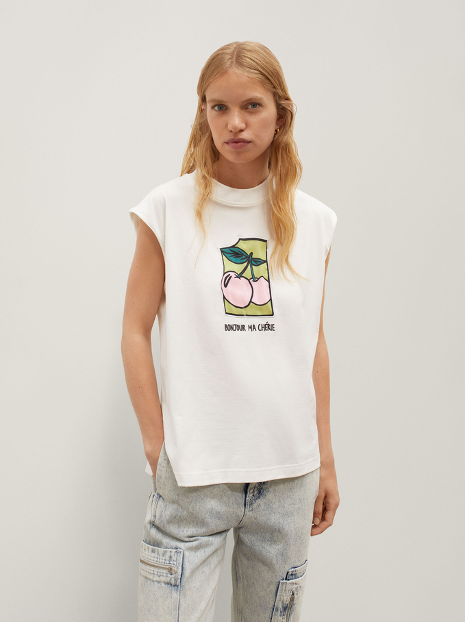 Sleeveless T-Shirt With Cherry Print And Embroidery, White, hi-res